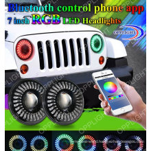 New RGB7 Inch Round LED Headlight 40W 7 LED Driving Headlig for SUV Road off with Music Control Colorful APP Blue Tooth