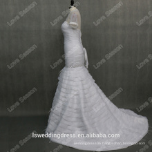 RP0099 Short sleeve high neck crystals wedding dress 2014 with long train customize made real ostrich feather wedding dress