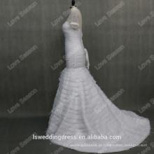 RP0099 Vestido de noiva de cristais de pescoço de manga curta 2014 com transporte de trem longo personalizado vestido de casamento de pena de avestruz real