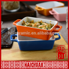 Promotional stocked colorful ceramic bake bowl with color box packing