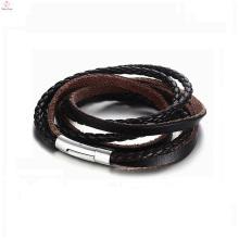 2018 aço inoxidável fecho magnético pulseira de couro, 5 camadas cabo envoltório trançado pulseira de couro genuíno