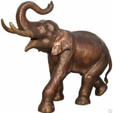 Tronco que levanta la estatua del bronce del elefante de tamaño natural para la decoración del jardín