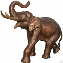 Trunk Lifting Life-size Elephant Bronze Statue for Garden Decoration