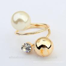 Anneau en perle en métal à la mode pour femmes fabriqué en Chine