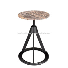 Industrial Round Stone Top with Metal base Bar stool