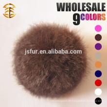 Hotsale Beutel-Kleid-Pelz-Ball-Zusätze Keychain Echtes 8cm natürliches oder buntes Kaninchen-Großverkauf Pelz-Pom Poms