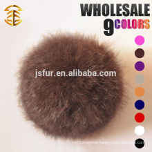 Hotsale Bag Garment Fur Ball Accessories Keychain Genuine 8cm Natural Or Colorful Rabbit Wholesale Fur Pom Poms