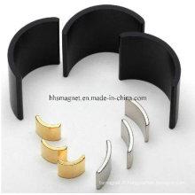 Aimants en néodyme, forme de segment d'arc pour moteur avec plaquage personnalisé