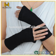 custom made long fingerless black color wool gloves