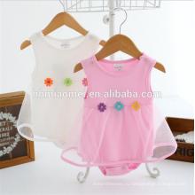 Лета OEM новорожденного платье Baby ромпер sleevelss новорожденных девочек ползунки сплошной цвет мягкого хлопка ребенка ползунки