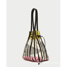 Printed Leather Bucket Bag with Bellows Designdetails