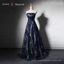 LSQ003 Dark blue strapless sheath latest dress designs photos with patterns beaded long evening dress