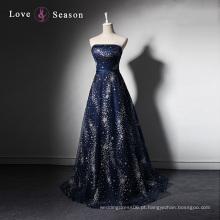 LSQ003 O vestido mais recente da bainha strapless azul escuro projeta fotos com padrões com contas longas