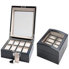 Caixa de relógio de madeira de luxo com janela