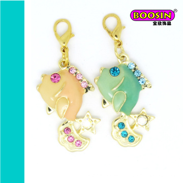 Fashion Gold Plating Custom Alloy Enamel Fish Charm