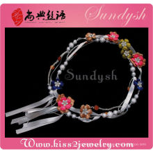 Cordón hecho a mano al por mayor de la joyería del grano de la flor de la tela