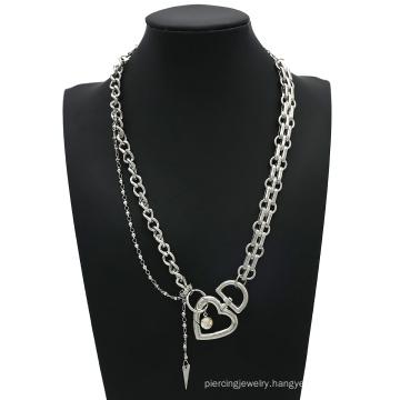 Punk Cuban Choker Necklace Collar Statement Steampunk Love Heart Big Iron Chain Choker Necklace Jewelry for Women Men Gift