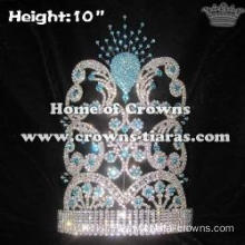 Crystal Rhinestone Peacock Pageant Crowns With Blue Diamonds