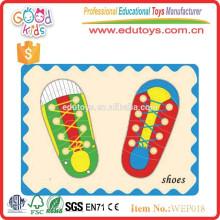 Montessori educación preescolar niños diy rompecabezas zapatos juguetes de madera