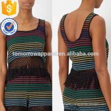 Rainbow Stripe Woven Fringed Hem Top Manufacture Wholesale Fashion Women Apparel (TA4070B)