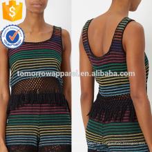 Stripe arco-íris tecido franjada hem top fabricação atacado moda feminina vestuário (ta4070b)