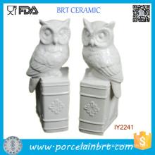 White Glazed Ceramic Owls on Books Bookend