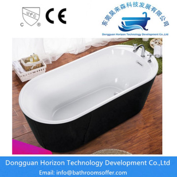 Black oval-shaped bathtub bathroom tub