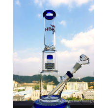Birdcage and Showerhead Perc Glass Water Pipe with Stem