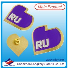 Unique Design Gold Metal Label Badge with Purple Enamel (LZY-10000379)