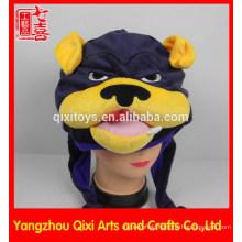 Carnival plush animal head hat factory animal shaped plush bulldog hat