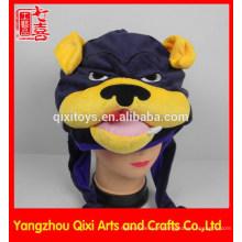 Carnaval animal de pelúcia cabeça chapéu fábrica animal em forma de chapéu de pelúcia bulldog