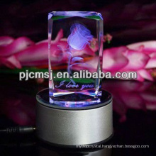 2015 Colorful Light Base 3d Laser Crystal Cube