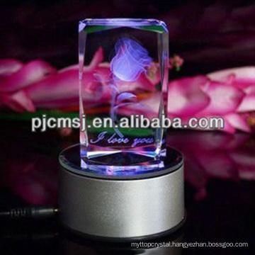2015 Colorful Light Base 3d Laser Crystal Cube