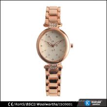 Diamante de cuarzo damas nuevo diseño reloj moda iprg chapado rosa de color oro