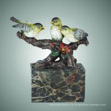 Tier-Messing-Vogel-Statue Drei Vogel-Bronze-Skulptur, Milo Tpal-307