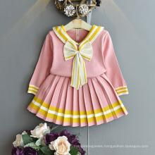 2021 Fall Autumn Girl Suit Thin Children Cute V-Neck Bow Pleated Skirt Set