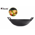 healthy flat bottom cast iron wok with big size