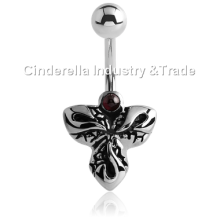 Surgical Steel Kool Katana Belly Rings Jeweled-Clover