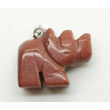Rhinoceros Shape Gold Stone Pendant