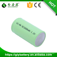 GLE-SC1600 1.2V NI-MH sub-c Rechargeable Battery Flat Top With Tabs Factory Price