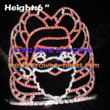 Wholesale Santa Claus Christmas Crystal Crowns--Red Design