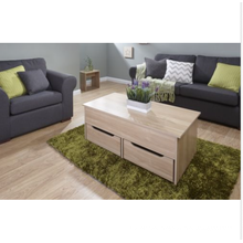 Modern MDF wood lift up coffee table with run through drawer design