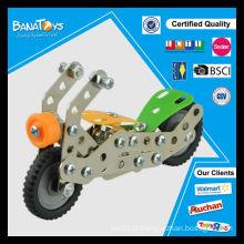 Kid montagem de tijolos de metal motocicleta brinquedo