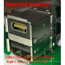 Conector hembra USB3.0 de 18 pines de ángulo recto de doble cubierta