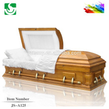 Estilo americano alta calidad cremación barato ataúd de madera