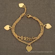 Marque Logo Coeur Pendentif Layered Amitié Bracelet Mode Métal Tag Pour Bracelet