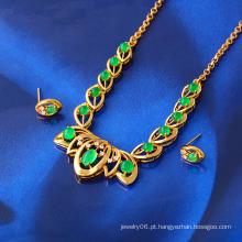 Livre amostra 24k ouro cor Malay jade conjunto de jóias (61408)