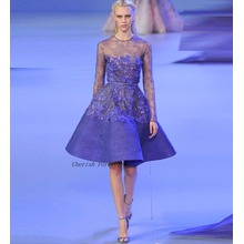 2017 Celebrity Gowns Prom Dresses Scoop cuello de manga larga Appliques Lace Estilo corto
