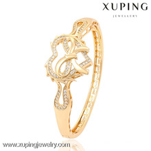 51323 Xuping moda 18 k cor do coração de ouro em forma de mulheres pulseira para presentes