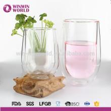 Tasse potable de mur de double de verre clair de cadeau de Noël de promotion pour le jus de café de thé